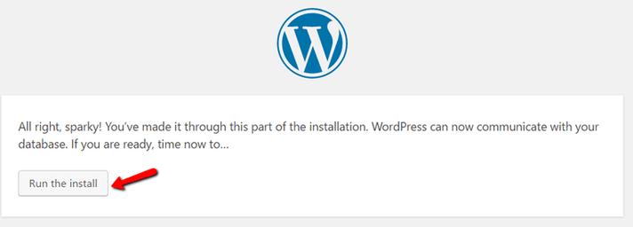 Avvia installazione wordpress