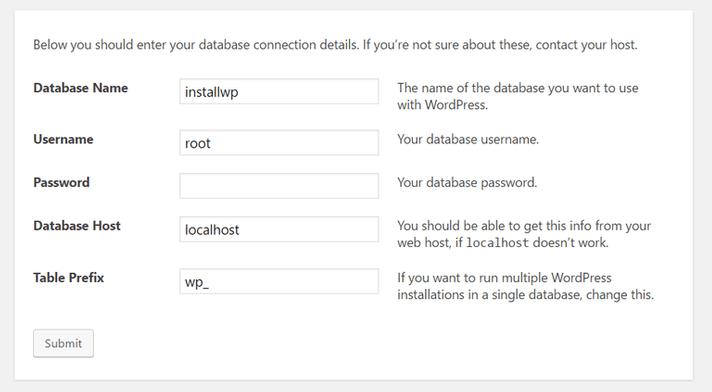 Configurazione dati di installazione hosting