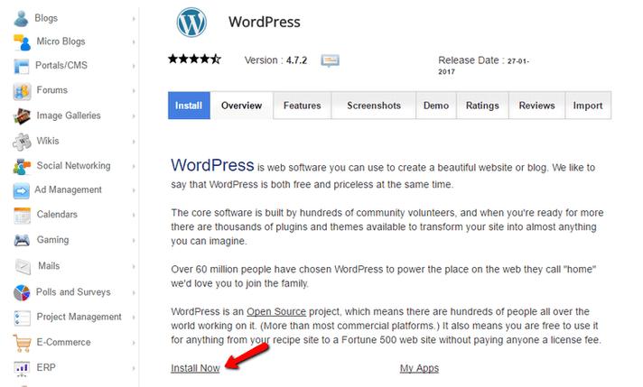 Continua l'installazione di wordpress