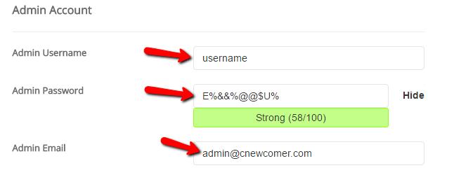 Inserire le credenziali di accesso a wordpress