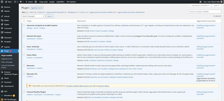 Rimozione plugin wordpress